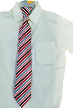 Kinderkrawatte fertig gebunden - rot mit graue Streifen