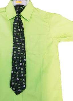Kinderkrawatte fertig gebunden - schwarz - grün  geblumt