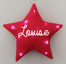 Veilleuse étoile lin fushia personnalisée, marque Toi même