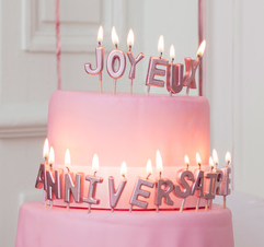 """Bougies écriture """"Joyeux anniversaire"""" rose gold"""