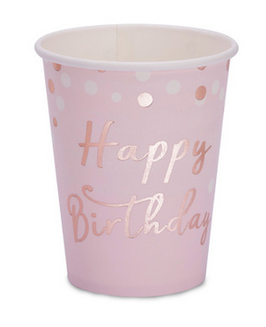 8 gobelets rose pastel Happy Birthday rose gold