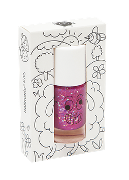 Vernis à ongle framboise transparent paillettes Sheepy Nailmatic kids