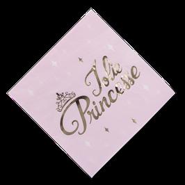 """16 grandes serviettes rose pastel écriture """"Jolie princesse"""" dorée"""