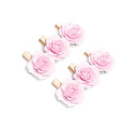 6 mini pinces bois avec roses rose pastel
