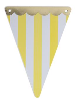 5 fanions triangles rayés jaune et blanc avec frise dorée