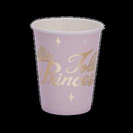 "8 gobelets rose pastel écriture ""Jolie princesse"" dorée"