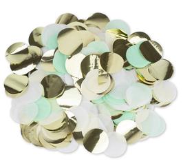 Confettis Vert Menthe , Blancs, Dorés 3cms