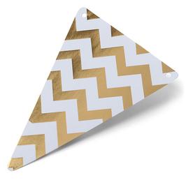 5 fanions triangles chevrons dorés et blancs