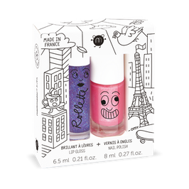 Coffret Lovely city rollette cassis et vernis rose bonbon paillettes Kitty Nailmatic kids