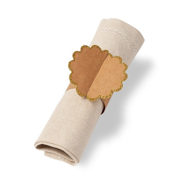 8 ronds de serviettes kraft bordure frise dorée