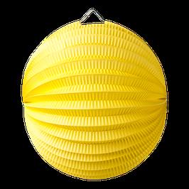 Lampion boule en papier jaune 20 cms