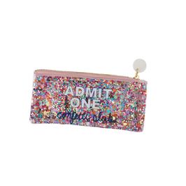 Trousse vinyle transparente avec paillettes confettis multicolores