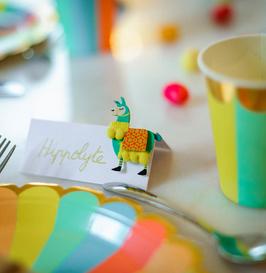6 stickers lamas multicolores en 3D