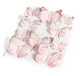 10 papillons décoratifs rose pastel