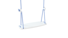 Balançoire Classic enfant plateau bois blanc et corde bleu ciel