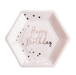 8 grandes assiettes rose pastel Happy Birthday rose gold