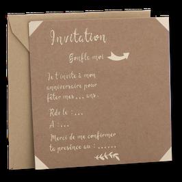 10 invitations et 10 enveloppes kraft écritures dorées