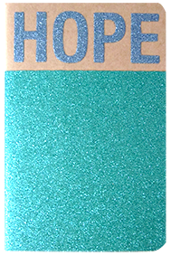 Carnet pailleté format A6 message HOPE