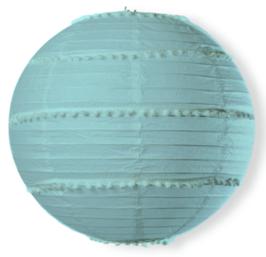 Lampion en Papier Bleu Ciel avec Pompons