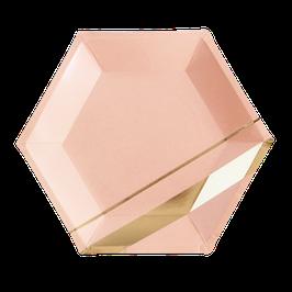 8 grandes assiettes roses avec bandes dorées