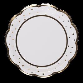 8 grandes assiettes blanches pois dorés avec bordure frise dorée