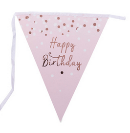 Guirlande fanions triangles rose pastel Happy Birthday rose gold