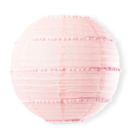 Lampion en papier rose clair avec pompons