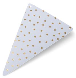 5 fanions triangles pois dorés et blancs