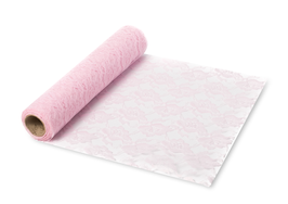Chemin de table en dentelle rose pastel