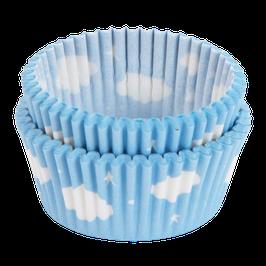 50 Caissettes cupcakes bleu ciel avec nuages A little lovely company