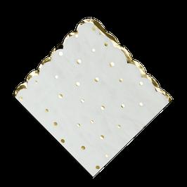 16 grandes serviettes blanches pois dorés avec bordure frise dorée
