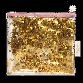 Pochette vinyle transparente avec paillettes confettis dorés