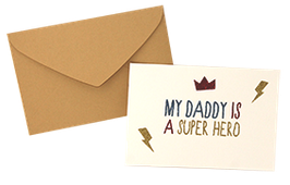 "Carte pailletée ""My daddy is a super hero"""
