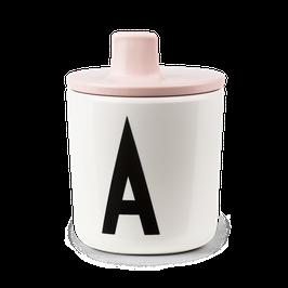 Bec verseur rose clair pour tasse lettres design letters