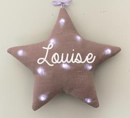 Veilleuse étoile mauve grisé personnalisée, marque Toi même