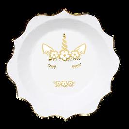 8 assiettes avec licorne dorée