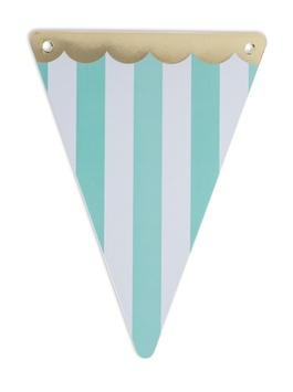 5 fanions triangles rayés vert menthe et blanc avec frise dorée