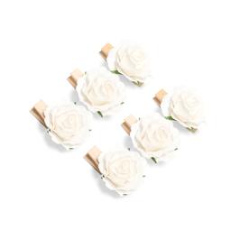 6 mini pinces bois avec roses ivoires