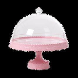 Présentoir rose pastel avec dome transparent Rice