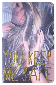 "Carnet photo pailleté format A6 message ""You keep me safe"""