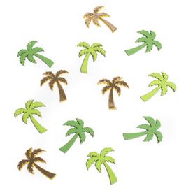 12 palmiers en bois verts et dorés