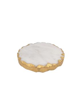 Marmoruntersetzer weiß/gold