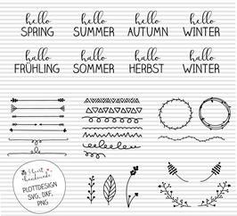 """Plotterdatei """"Jahreszeiten"""" mit handgezeichneten Elementen"""