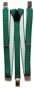 Bretelle Uomo Verde Smeraldo e Croci Bianche