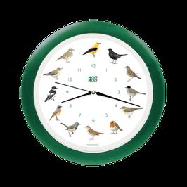 Singvögel grün Wanduhr
