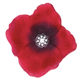 FLEUR ROUGE COQUELICOT 9 STRASS BLANCS