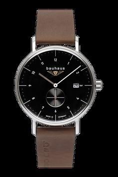Bauhaus Tabak/schwarz , dezentrale Sekunde, Made in Germany, Swiss Movement
