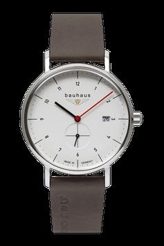 Bauhaus Quarzuhr m. kleiner Sekunde, Swiss Movement white 21301