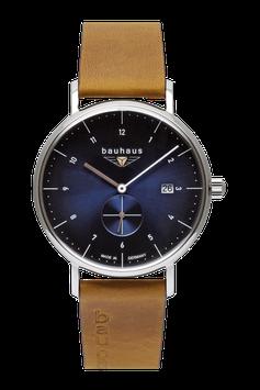 Bauhaus Quarzuhr m. kleiner Sekunde, Swiss Movement blau 21303