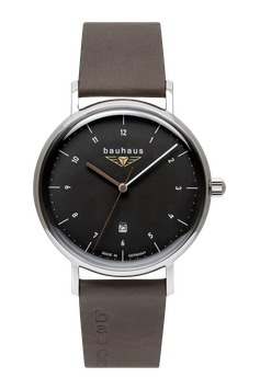 Bauhaus Uhr Quarz , Antrazit/braun, 41 mm , Made in Germany, Swiss Movement